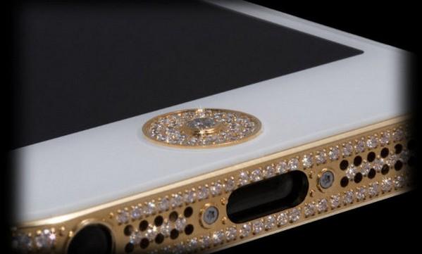 iPhone 5 dengan berlian di tombol home