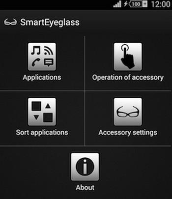 Sony SmartEyeglass aplikasi