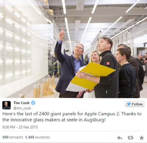 Tim Cook tweet data center