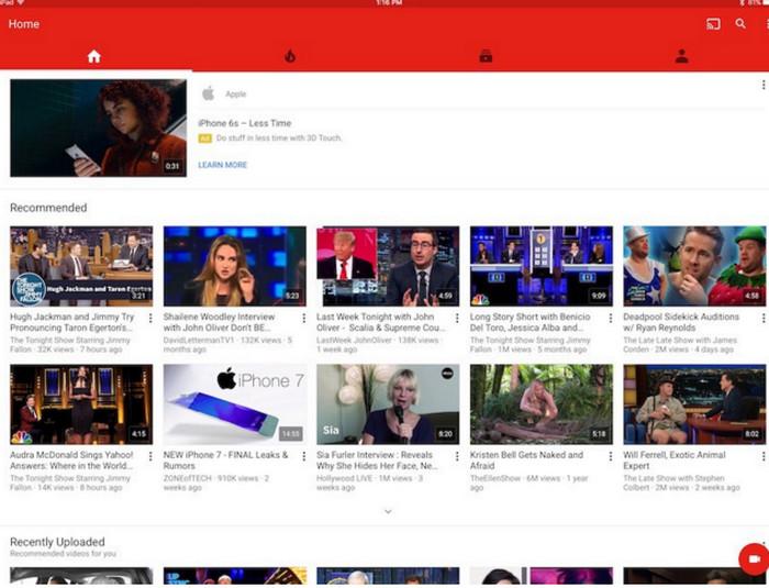 YouTube resolusi asli di iPad Pro