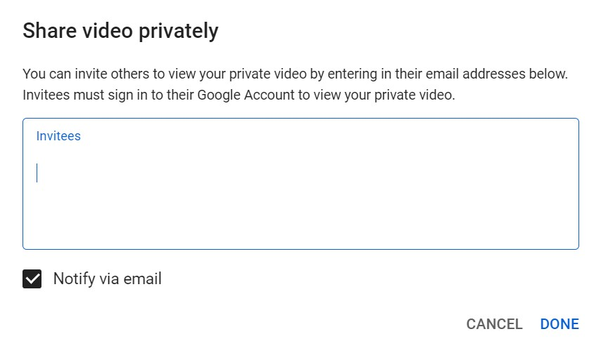 Cara Berbagi Video Private di YouTube
