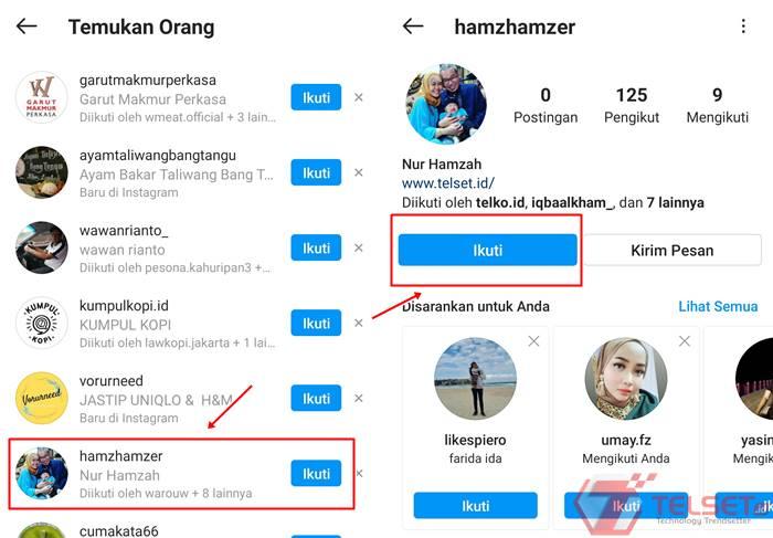 cari akun teman di Instagram via kontak