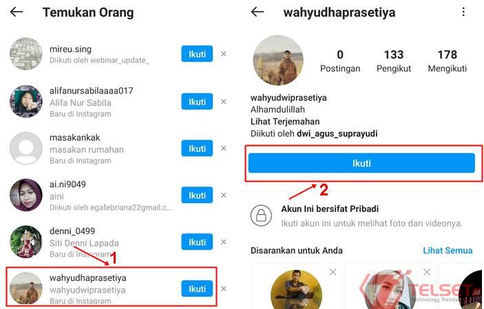 cari akun teman di Instagram