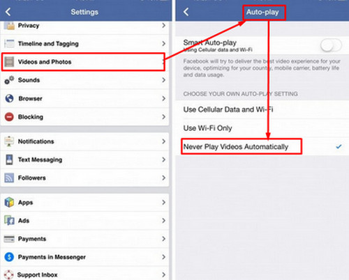 how to stop fb autoplay video