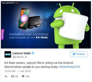 Lenovo K4 Note update Marshmallow Tweet