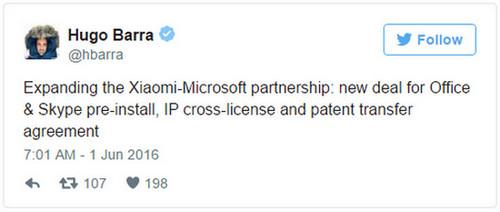 Tweet Hugo Barra kerjasama Xiaomi-Microsoft
