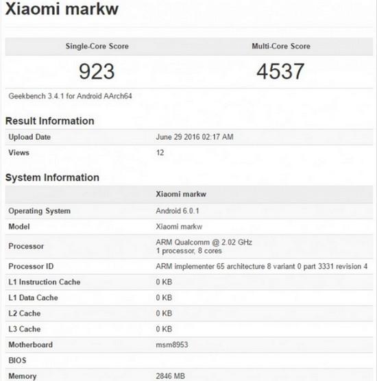 Xiaomi MarkW di Geekbench