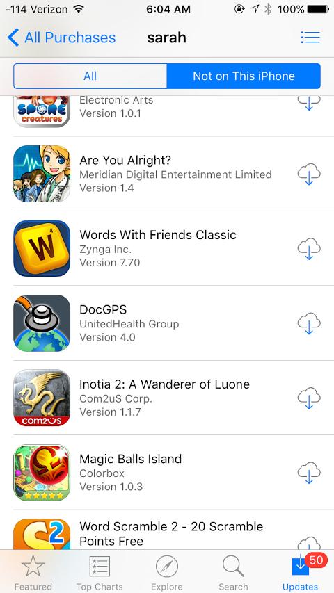 history aplikasi di iOS