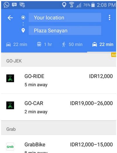 Gojek dan Grab di Google Maps