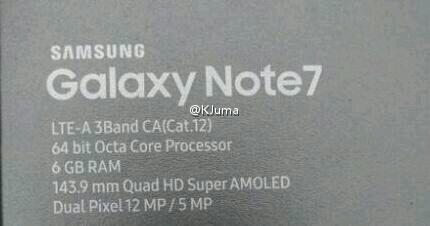 samsung Galaxy Note 7 RAM 6GB