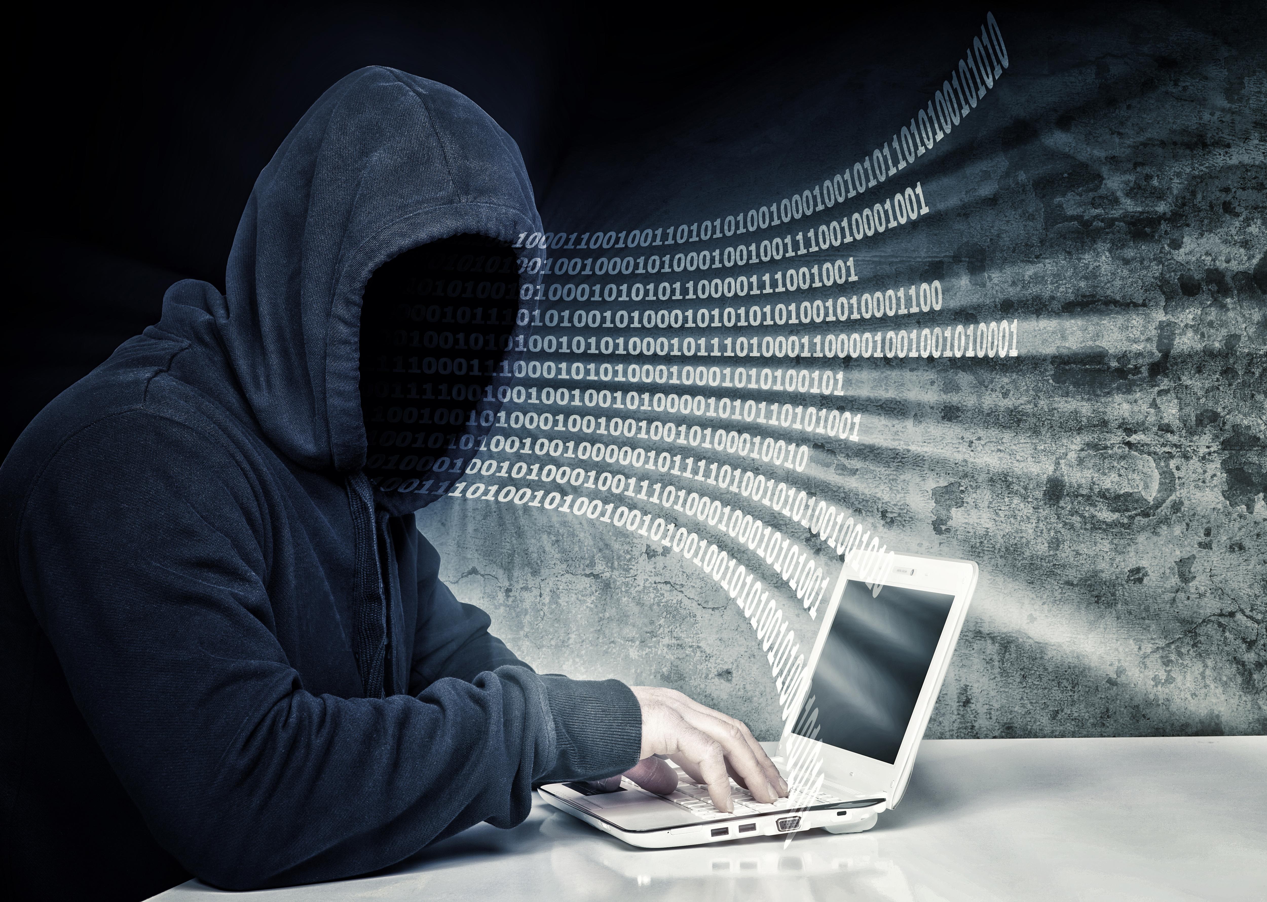 no face hacker and binary code