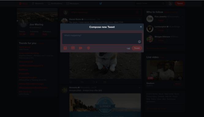 Twitter Uji Coba Fitur Night Mode di Versi Website