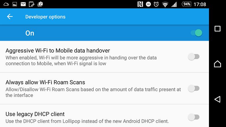 mode pengembang android data agresif