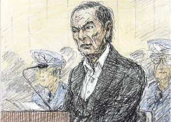 A court sketch, drawn by Nobutoshi Katsuyama, shows ousted Nissan Motor Co Ltd chairman Carlos Ghosn during an open hearing to hear the reason for his continued detention, at Tokyo District Court in Tokyo, Japan, in this image released by Kyodo January 8, 2019.  Mandatory credit Kyodo/via REUTERS ATTENTION EDITORS