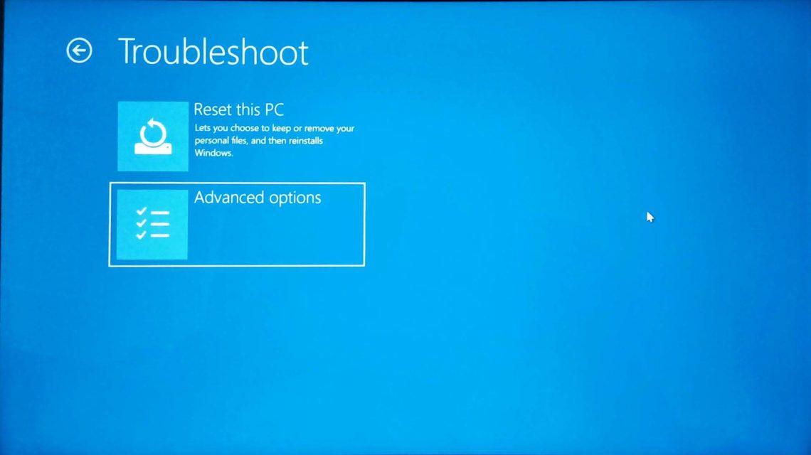 Startup Repair disk error windows 10 advanced options