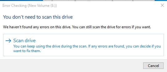 scan drive disk check disk error windows 10