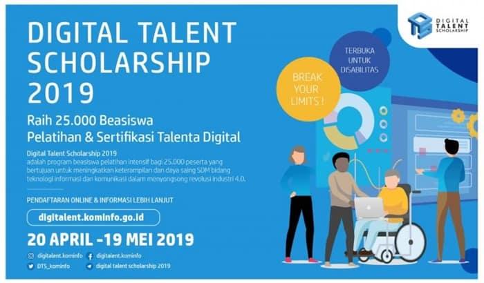 Kominfo Buka 25 Ribu Beasiswa Digital Talent Scholarship 2019