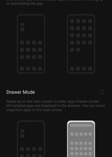 App drawer Tampilan Ponsel Android