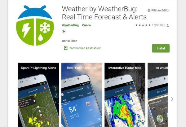 Aplikasi Pendaki Gunung WeatherBug