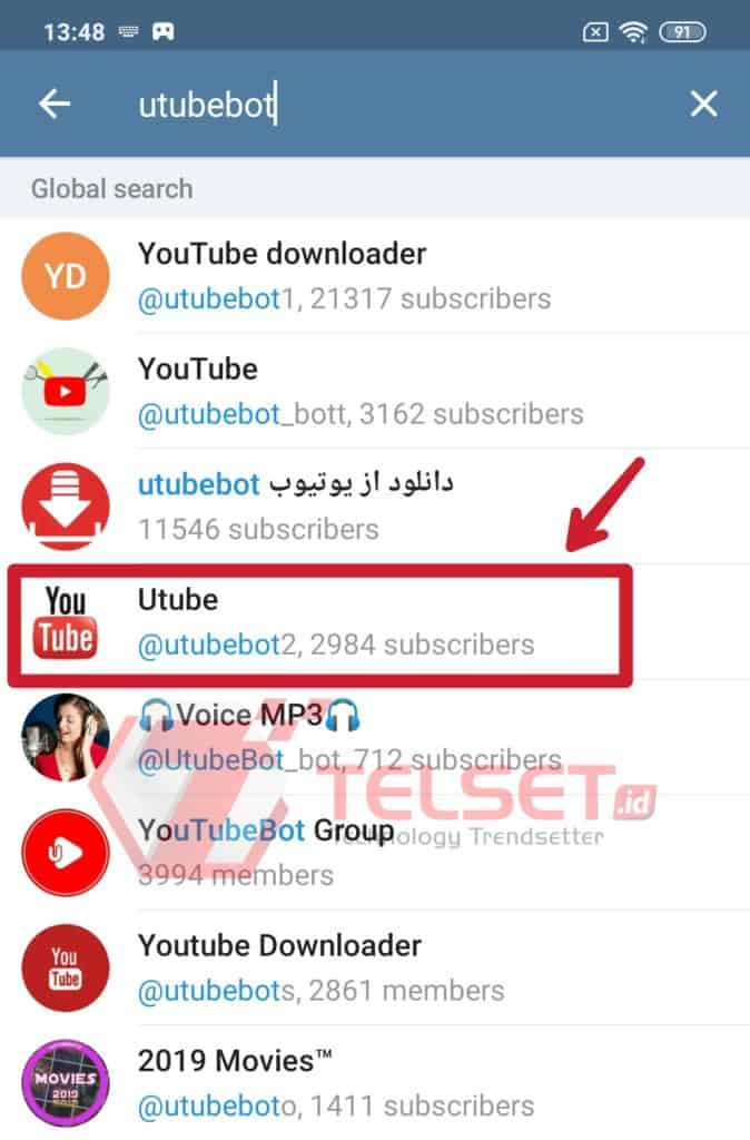 download youtube dengan telegram