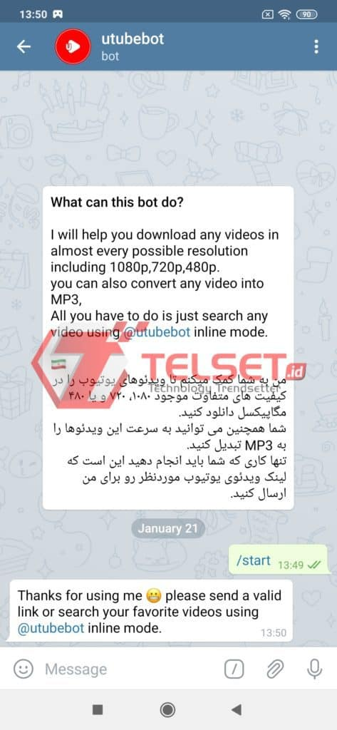 utubebot untuk download youtube