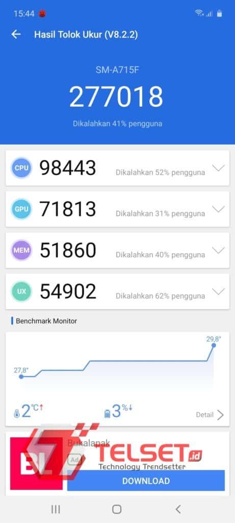 Pengujian Benchmark Samsung Galaxy A71