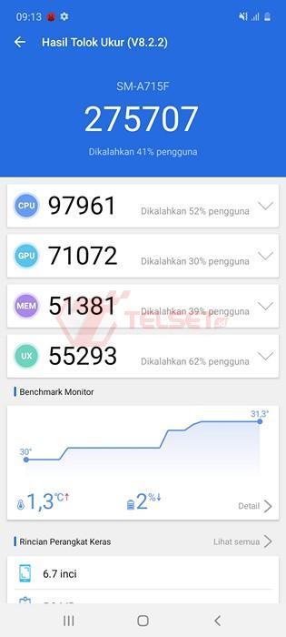 Benchmark AnTuTu Galaxy A71