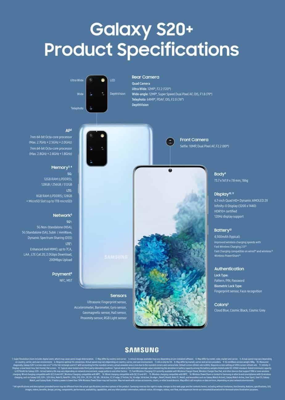 Spesifikasi Samsung Galaxy S20+