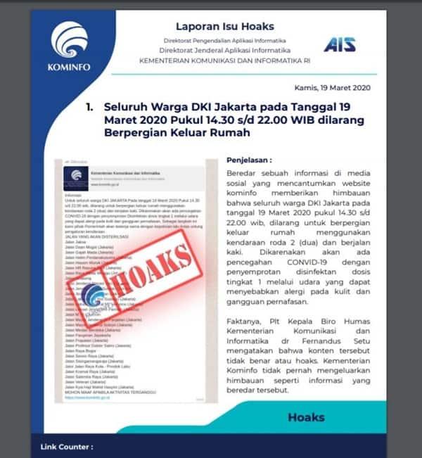 Kominfo Hoaks Aturan Warga Jakarta Virus Corona