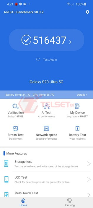 antutu Samsung Galaxy S20 Ultra