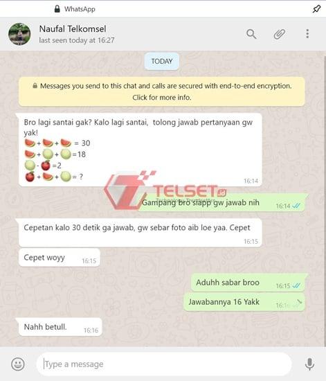 Permainan WhatsApp Tantangan Matematika