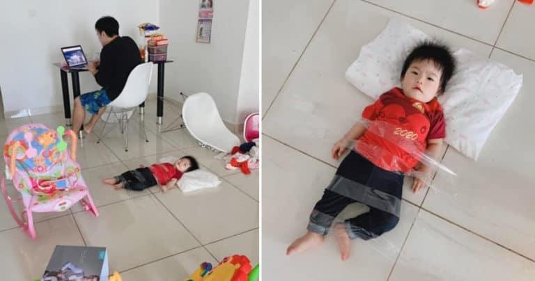 Gara-gara WFH, Pria Ini Lakban Anaknya di Lantai