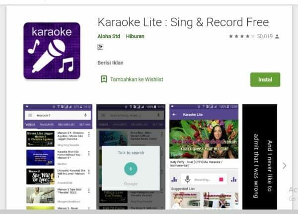 Aplikasi Karaoke di Android Karaoke Lite : Sing & Record Free