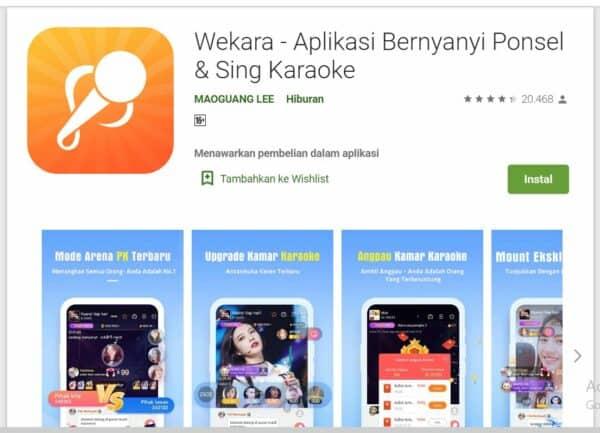 Aplikasi Karaoke di Android wekara