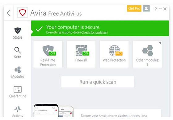 Avira AntiVirus paling ringan PC