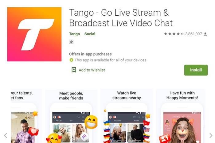 Tango aplikasi vide call gratis