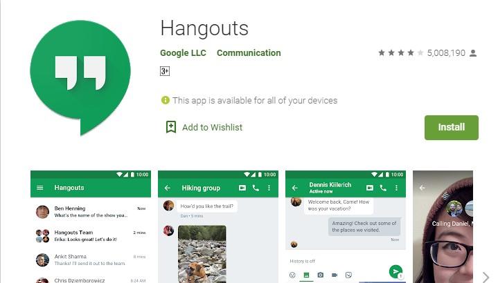 Google Hangout video call
