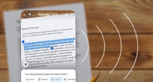 Google Lens teks hasil terjemahan