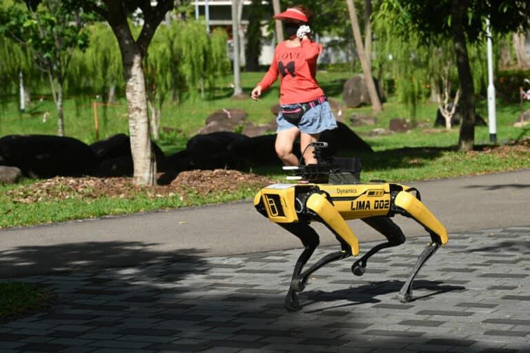 "Robot Anjing Ini ""Razia"" Warga Selama PSBB di Singapura"