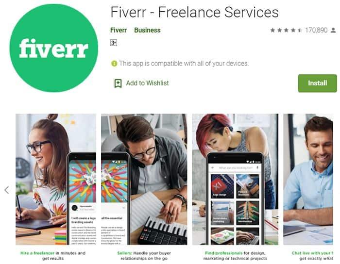 mencari kerja sampingan dengan aplikasi fiverr