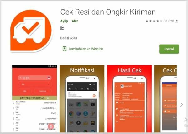 Aplikasi Cek Ongkir dan Resi