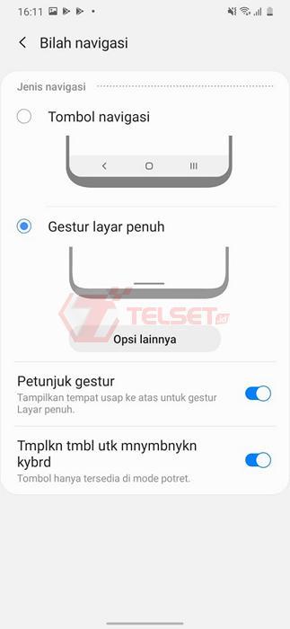 Cara Mengubah Navigasi Samsung One UI - Gesture Layar Penuh