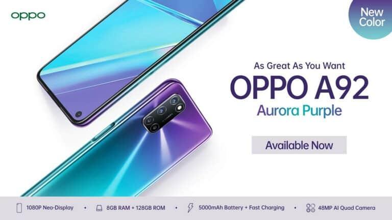 Makin Trendi, Oppo A92 Kini Hadir dengan Warna Aurora Purple