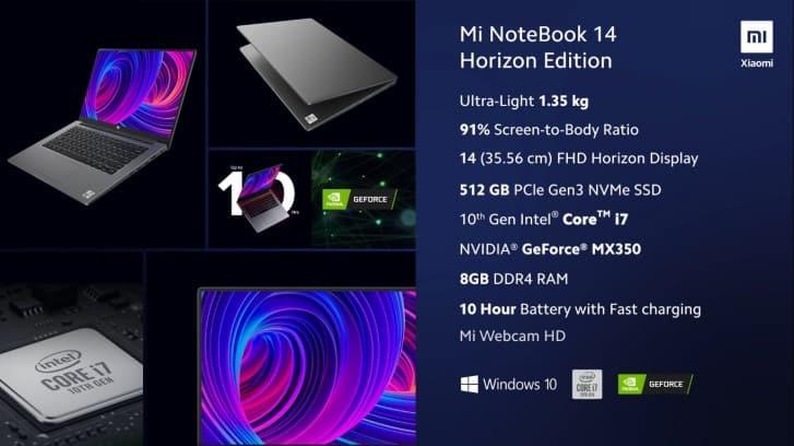 Spesifikasi Mi NoteBook 14 Horzion Edition