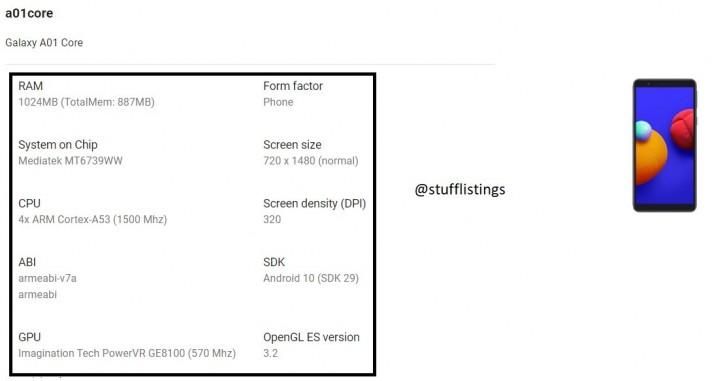 Spesifikasi Samsung Galaxy A01 Core