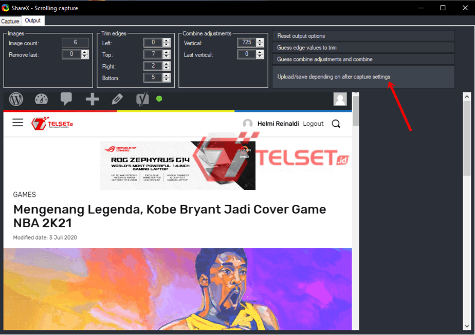 Screenshot Panjang dengan share x