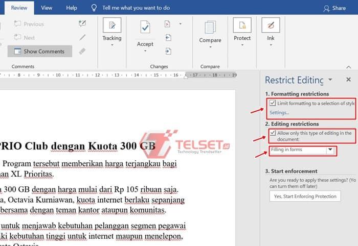 Cara Kunci Dokumen Word