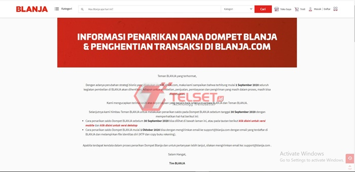 Blanja.com Ditutup