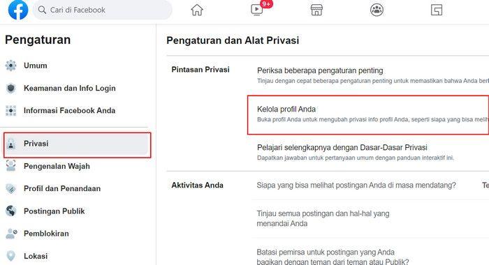 Pengaturan Private Facebook di PC