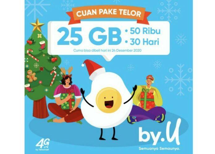 Paket 25GB By.U Cuan Pake Telor